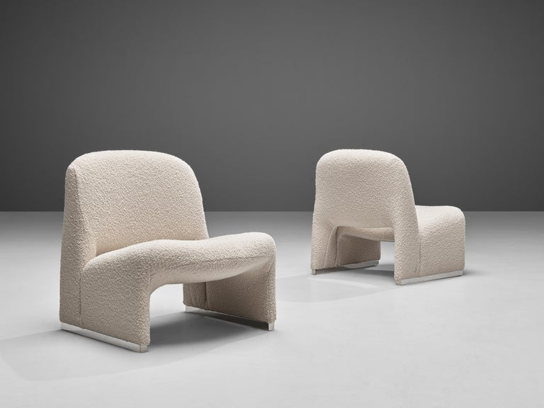Aluminum Reupholstered 'Alky' Lounge Chairs in the Style of Giancarlo Piretti For Sale