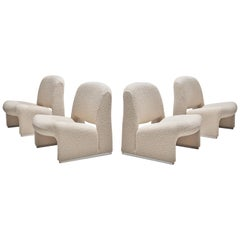 Reupholstered 'Alky' Lounge Chairs in the Style of Giancarlo Piretti