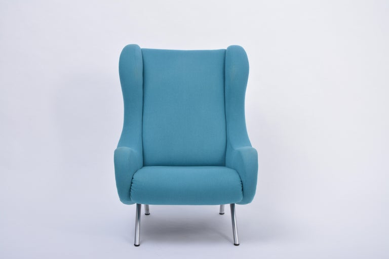 Reupholstered blue Mid-Century Modern Marco Zanuso senior lounge chair Marco Zanuso designed his iconic