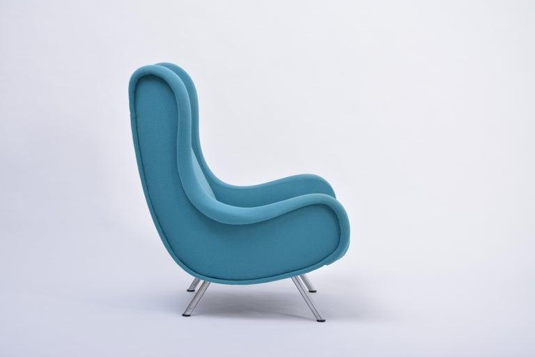 Danish Reupholstered Blue Mid-Century Modern Marco Zanuso Senior Lounge Chair For Sale