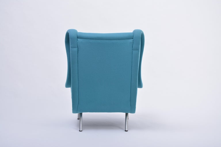 20th Century Reupholstered Blue Mid-Century Modern Marco Zanuso Senior Lounge Chair For Sale