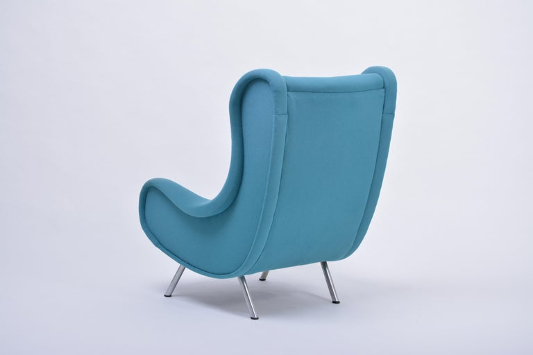 Metal Reupholstered Blue Mid-Century Modern Marco Zanuso Senior Lounge Chair For Sale