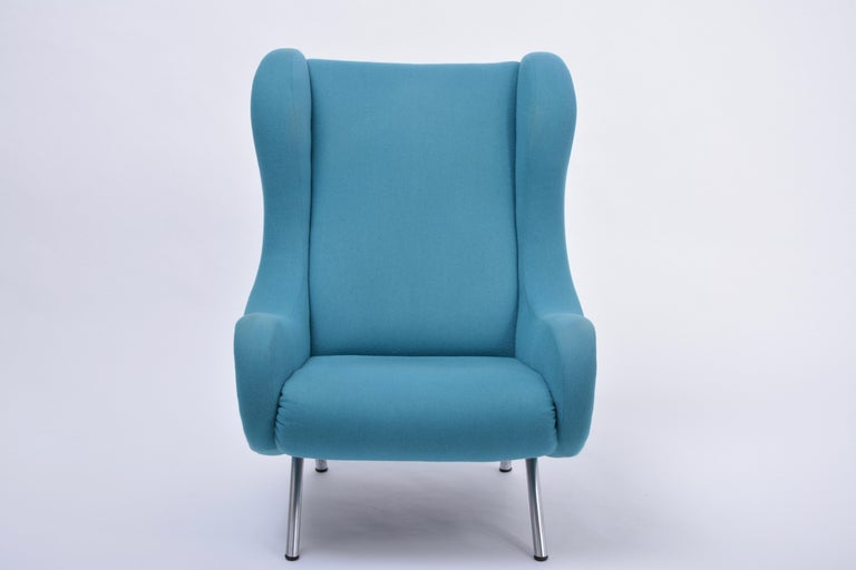 Reupholstered Blue Mid-Century Modern Marco Zanuso Senior Lounge Chair For Sale 2