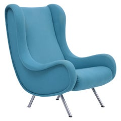 Reupholstered Blue Mid-Century Modern Marco Zanuso Senior Lounge Chair
