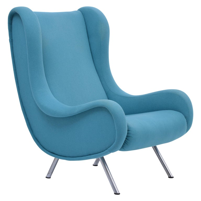 Reupholstered Blue Mid-Century Modern Marco Zanuso Senior Lounge Chair For Sale