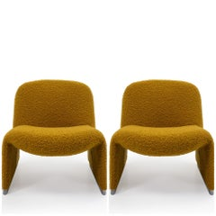 Reupholstered Bouclé Alky Chairs by Giancarlo Piretti for Castelli, Italy, 1970s