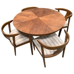 Round Walnut B.P. John Midcentury Dining Set with Reupholstered Chairs