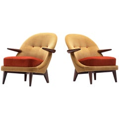 Reupholstered Danish Lounge Chairs in Golden and Red Dedar Fabric