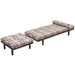 Reupholstered Hans Wegner Daybed wit Ottoman in Pierre Frey for GETAMA