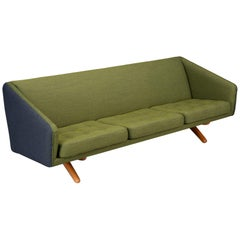 Reupholstered Green/Blue Sofa ML-90 by Illum Wikkelsø for Michael Laursen, 1960s