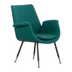 Reupholstered Green Gastoni Rinaldi Armchair, Italy, 1950s