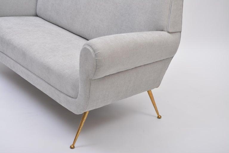 Reupholstered Grey Sofa By Gigi Radice For Minotti 1950s