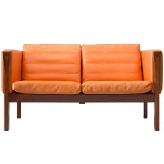 Reupholstered Hans Wegner Sofa with a Rosewood Frame, Model AP-63-2
