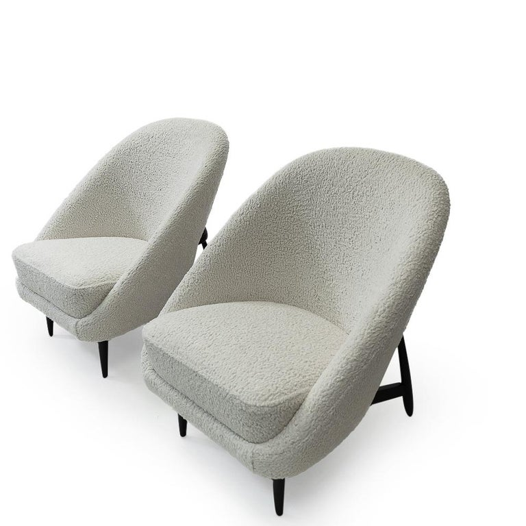 """Mid-Century Modern Reupholstered in Bouclé Theo Ruth """"115"""" Lounge Chairs for Artifort, 1950s"""