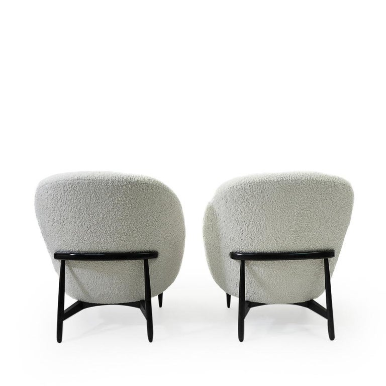 """Mid-20th Century Reupholstered in Bouclé Theo Ruth """"115"""" Lounge Chairs for Artifort, 1950s"""