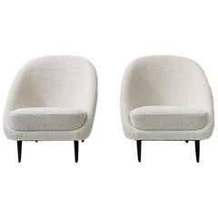 """Reupholstered in Bouclé Theo Ruth """"115"""" Lounge Chairs for Artifort, 1950s"""