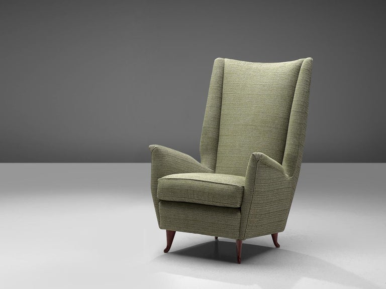 Mid-Century Modern Reupholstered ISA Italian High Back Lounge Chair For Sale