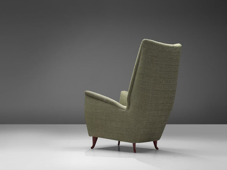 Reupholstered ISA Italian High Back Lounge Chair In Good Condition For Sale In Waalwijk, NL