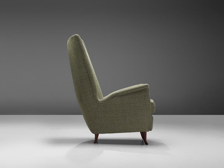 Mid-20th Century Reupholstered ISA Italian High Back Lounge Chair For Sale