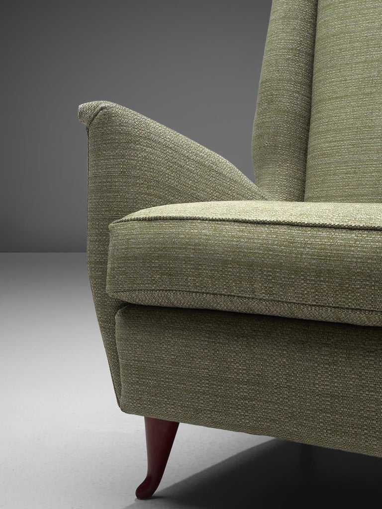 Wood Reupholstered ISA Italian High Back Lounge Chair For Sale