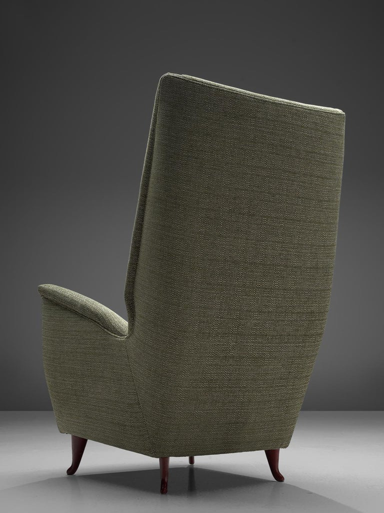 Reupholstered ISA Italian High Back Lounge Chair For Sale 2