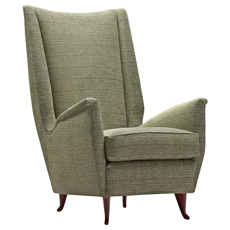 Reupholstered ISA Italian High Back Lounge Chair For Sale