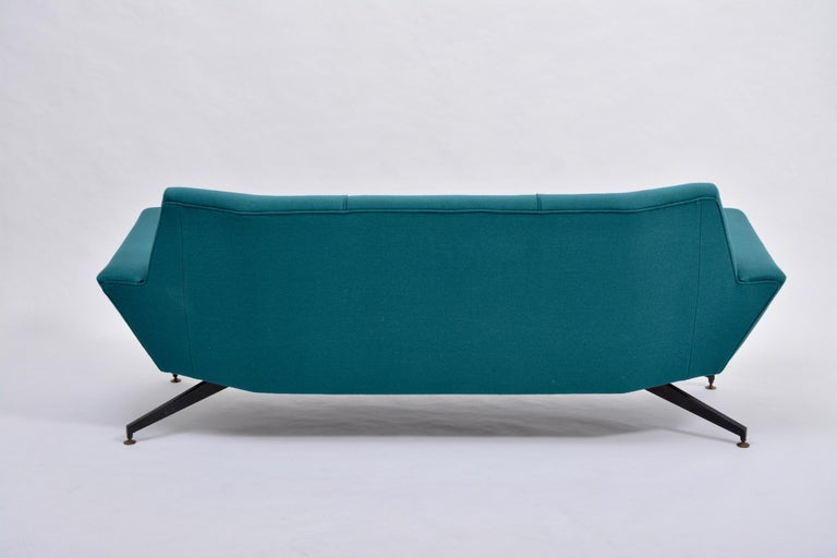 Reupholstered Italian Mid-Century Modern Sofa with Metal Base by Lenzi For Sale 8