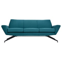 Reupholstered Italian Mid-Century Modern Sofa with Metal Base by Lenzi