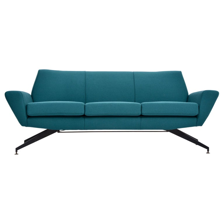 Reupholstered Italian Mid-Century Modern Sofa with Metal Base by Lenzi For Sale