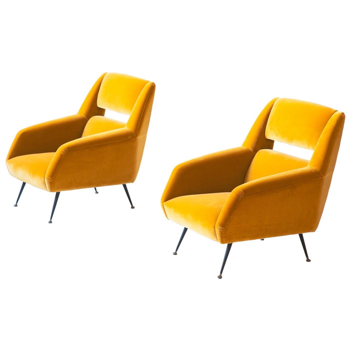 Reupholstered Italian Senape Yellow Velvet Lounge Chairs by Gigi Radice