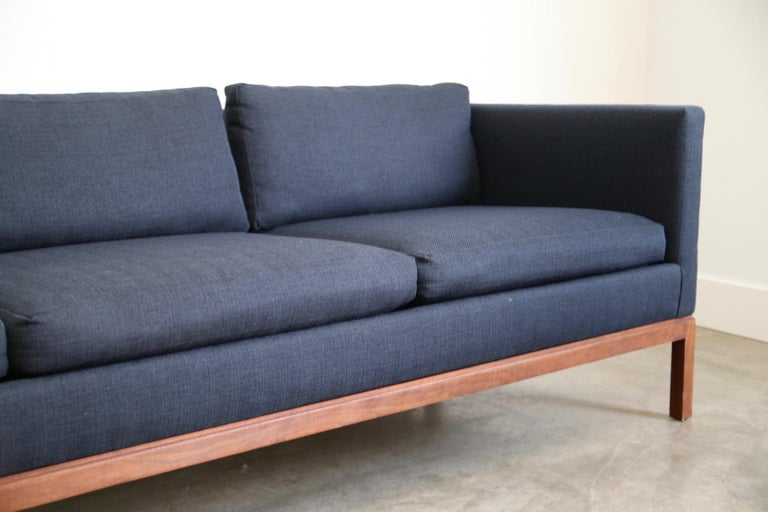 Mid-Century Modern Reupholstered Long and Low Midcentury Sofa For Sale