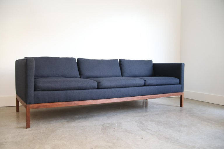 Reupholstered Long and Low Midcentury Sofa In Good Condition For Sale In St. Louis, MO