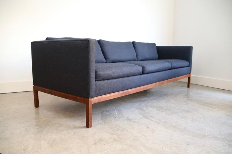 20th Century Reupholstered Long and Low Midcentury Sofa For Sale