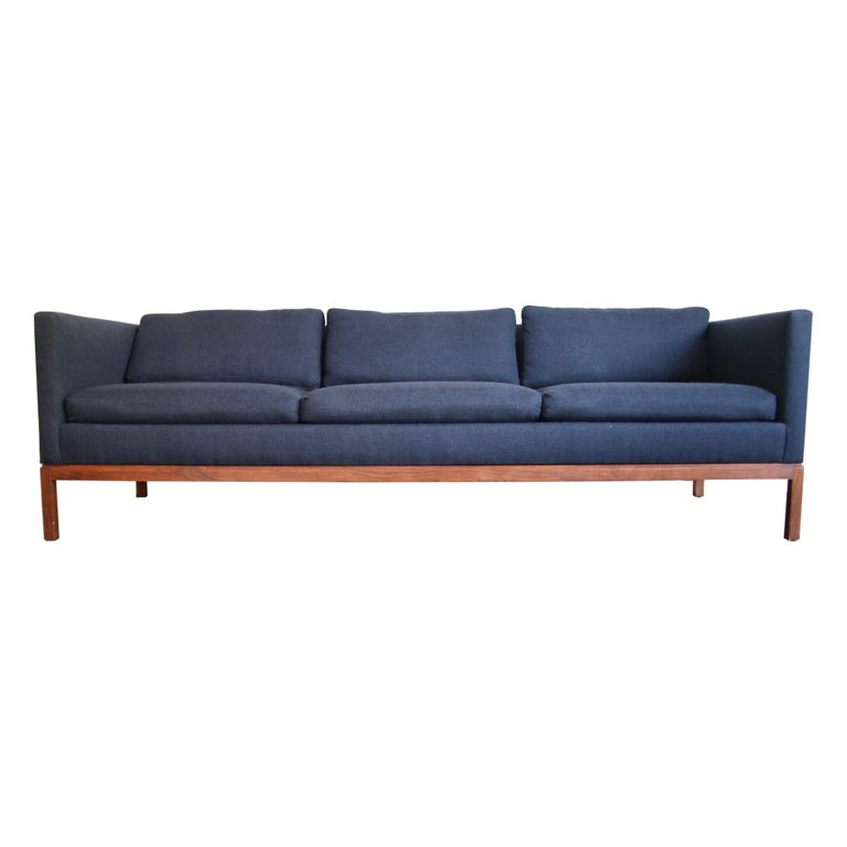 Reupholstered Long and Low Midcentury Sofa For Sale