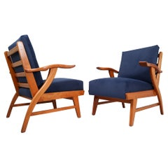 Reupholstered Lounge Chairs with Sculptural Ash Wooden Frame France, 1960s