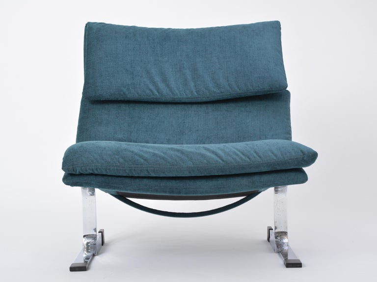 Reupholstered Onda Lounge Chair by Giovanni Offredi for Saporiti, Italy, 1970s For Sale 3