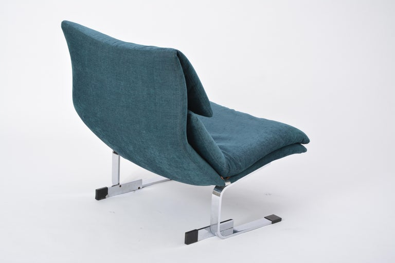 Italian Reupholstered Onda Lounge Chair by Giovanni Offredi for Saporiti, Italy, 1970s For Sale