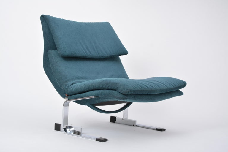 Steel Reupholstered Onda Lounge Chair by Giovanni Offredi for Saporiti, Italy, 1970s For Sale