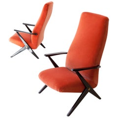 Reupholstered Pair of Italian Rust Color Velvet Lounge Chairs, 1950s