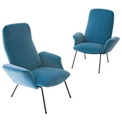 Reupholstered Pair of Rare Italian Light Blue Velvet Lounge Chairs, 1950s