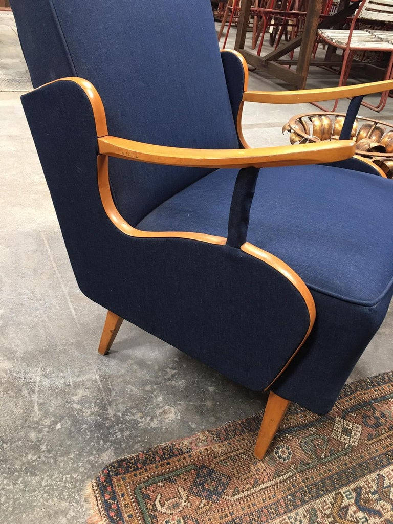 Reupholstered Vintage European Deco Armchairs In Good Condition For Sale In Los Angeles, CA