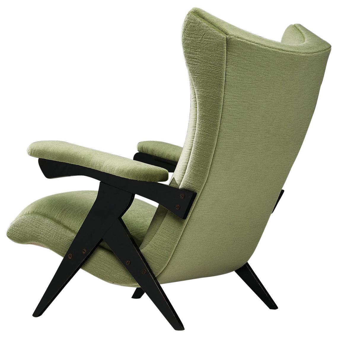 Reupholstered Zanine Caldas High Back Armchair in Green Velvet Upholstery