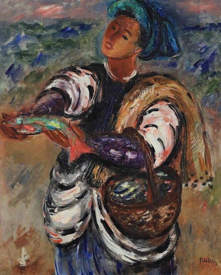 Reuven Rubin Figurative Painting - Fisherman by Reuvin Rubin - Painting