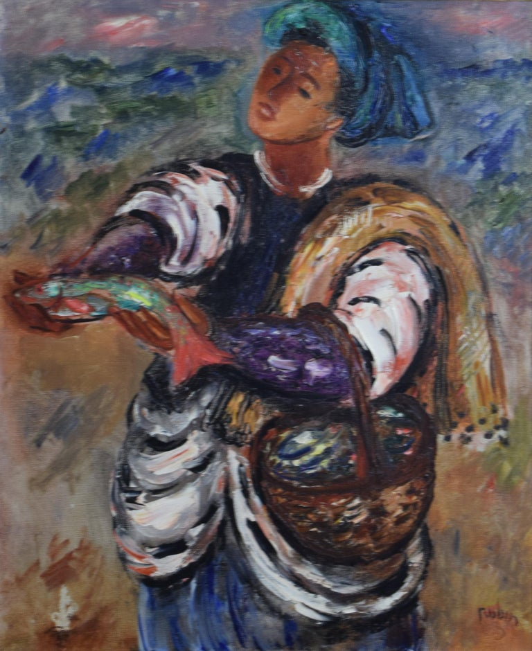 Reuven Rubin Figurative Painting - Fisherman
