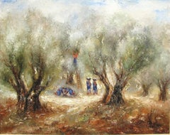 Picking the Olives by REUVEN RUBIN - 20th century art, oil painting
