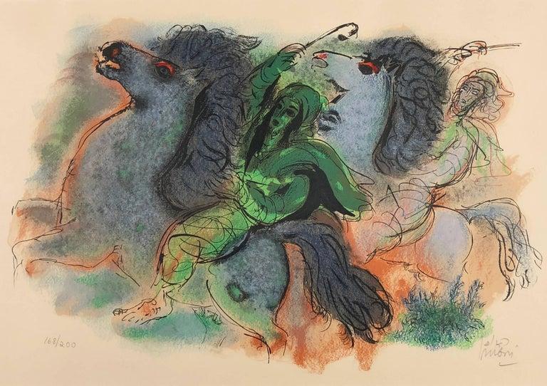 Reuven Rubin Figurative Print - Horsemen in the Negev