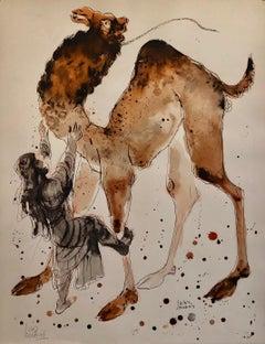 Modern Israeli Lithograph Reuven Rubin Views Of Israel Judaica Camel Rider