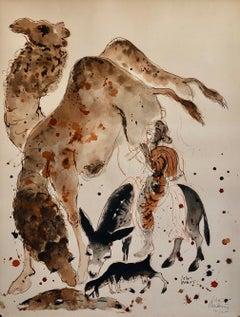 Modern Israeli Lithograph Reuven Rubin Views Of Israel Judaica Camel Rider Goat