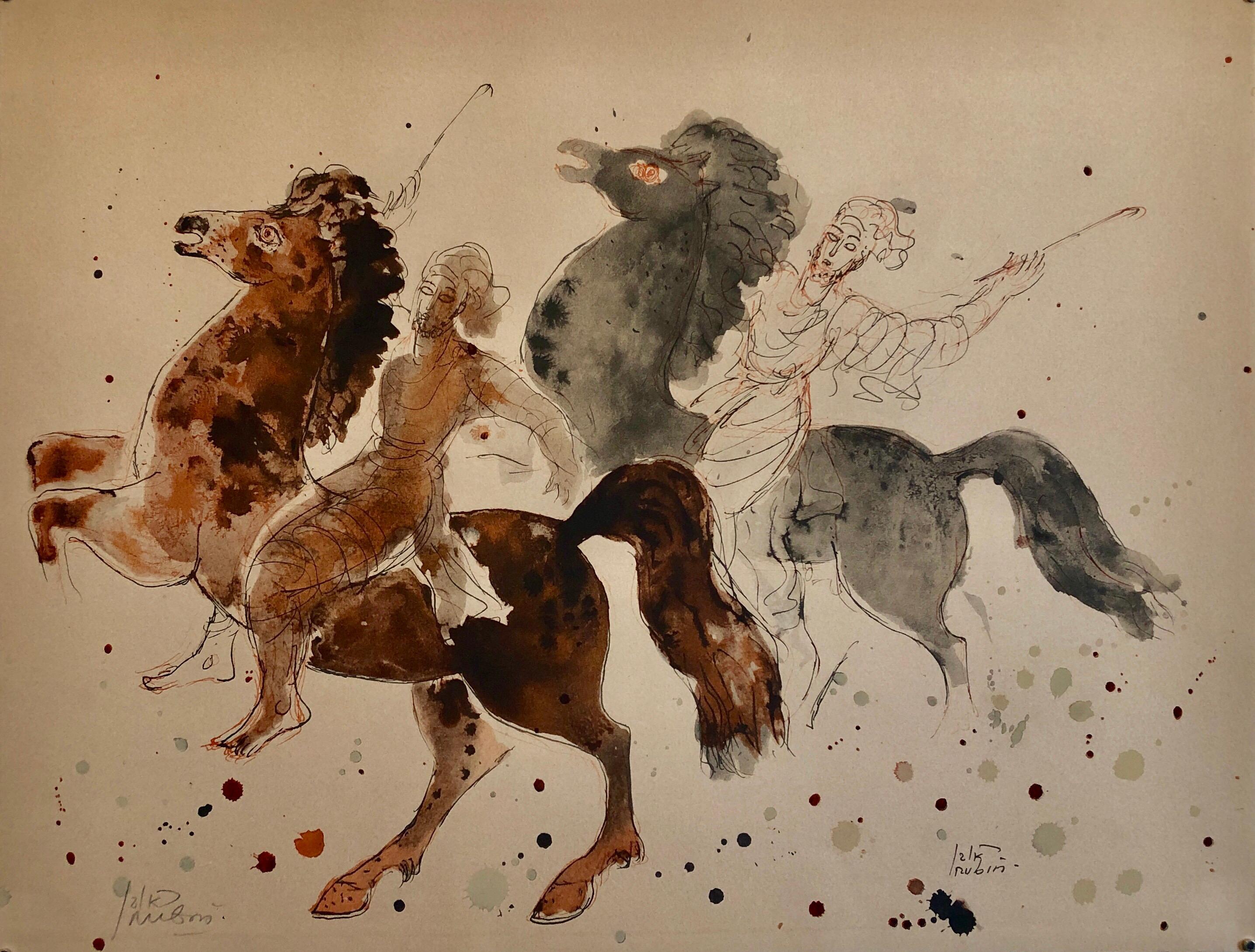 Modern Israeli Lithograph Reuven Rubin Views Of Israel Judaica Horses, Riders