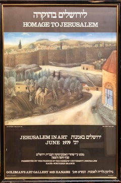 Offset Lithograph Poster Homage to Jerusalem Painting by Israeli Reuven Rubin